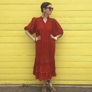 VTG 70s Boho Rust Gauze Dress
